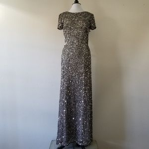 Adrianna Papell Grey Sequin Gown 12 (NWT)